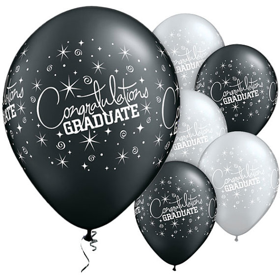 11″ Black White Congratulations Graduate