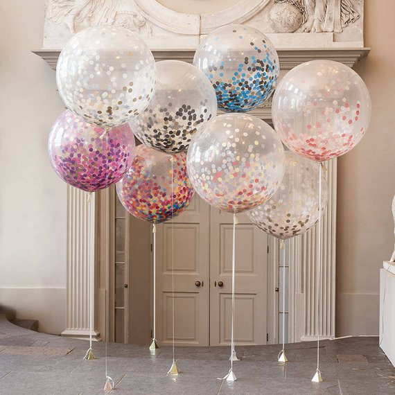 Clear Confetti Balloons (36″)