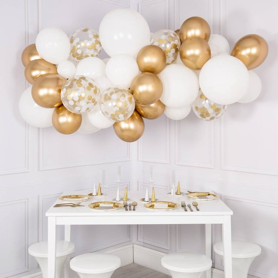 Confetti Balloon Garland Kit – DYI 56 piece (White and Gold)